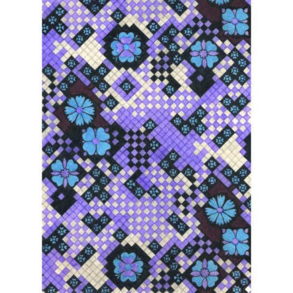 Greetings card design 1970s textile pattern of blue flowers and small purple squares with grey and black chequers