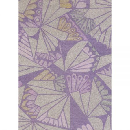Greetings card with 1970s textile design of geometric yellow, grey and pink shapes against purple background