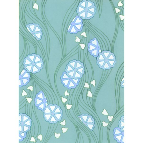 Greetings card 1970s textile design of blue and white flowers, green flowing lines and aqua turquoise background