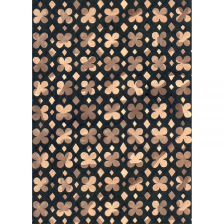 1970s Textile design of cutout four petal shapes in browns outlined in black