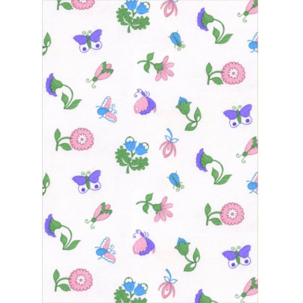 Greetings card with 1970s textile design of pink, purple and blue flower and insect motifs