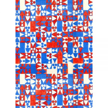 1970s Textile design of red, white and blue squares and abstract chess motifs