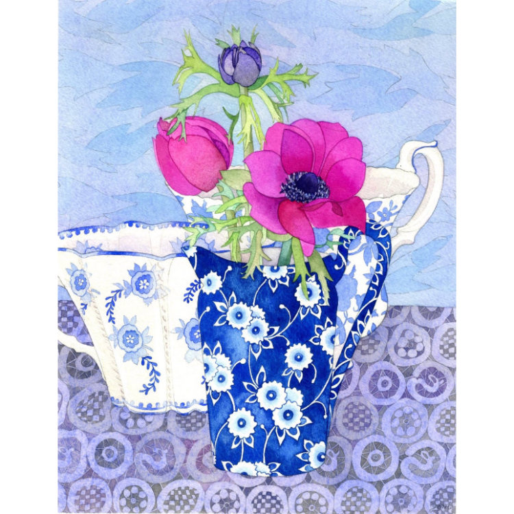 Greetings card with painting of pink anemones in blue and white china jug with blue and white cup against blue background