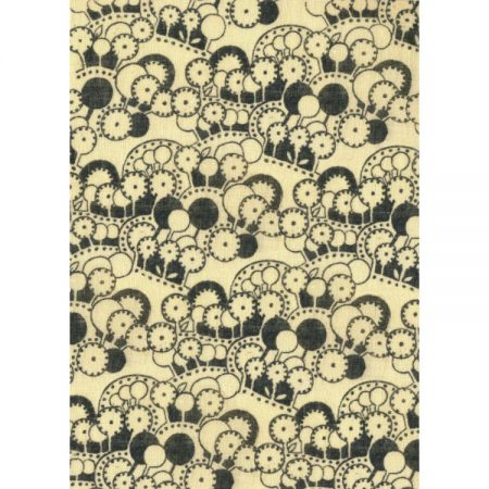 Greetings card with 1970s Textile pattern of circular motifs in black on cream fabric background