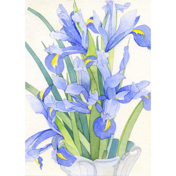 Greeting card design with painting of purple irises in white vase