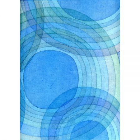 Abstract painting of circles and ripples in shades of blue