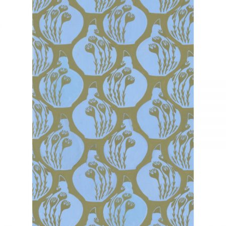 1950s wallpaper design of blue china pots against olive green background