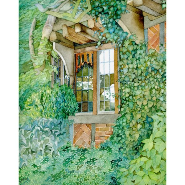 Painting of Tudor cottage window nestled in green leaves greetings card design
