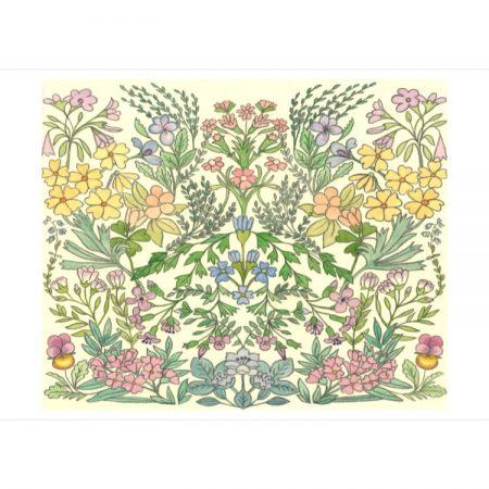 Greetings card with mirror design of pink, purple and yellow flowers with green leaves