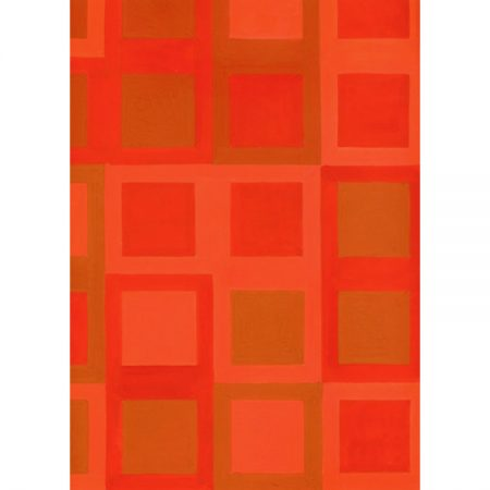 1950s wallpaper design of squares in shades of red and tan