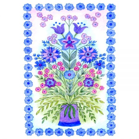 Greetings card design of colourful painting of mirrored wildflower design in purple and blue with blue flower border