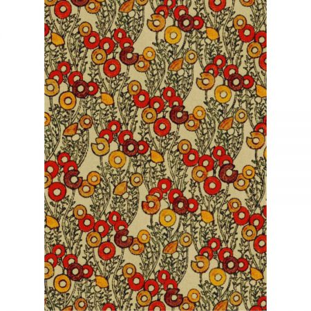 1970s Textile design pattern of red, auburn and tan circles with black leaves