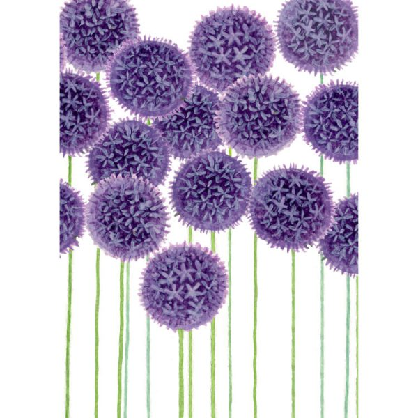 Front of double view greetings card with multiple painted purple alliums on tall green stalks