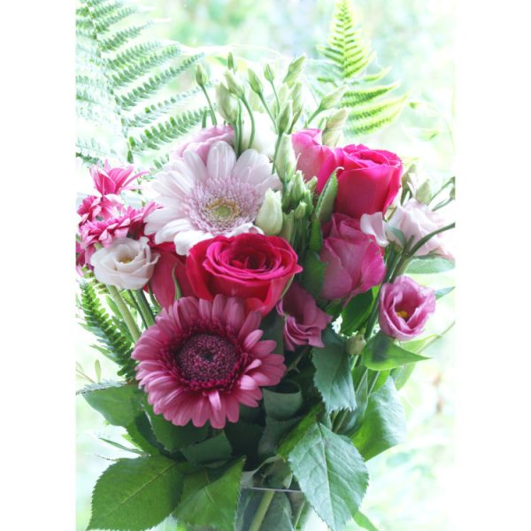Front of double view greetings card with photo of pink roses, lisianthus and gerbera daisies