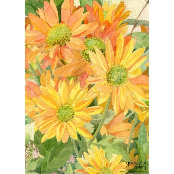 Back of greeting card with close up detail of painted yellow-orange chrysanthemums