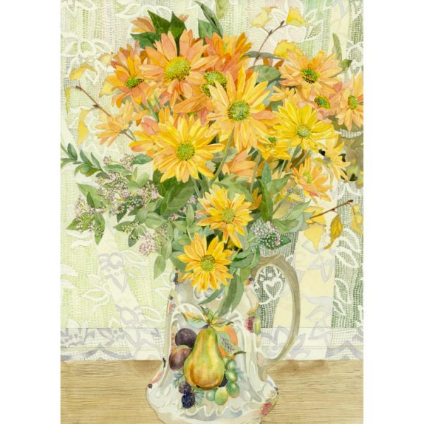 Front of double view greetings card with painting of bunch of yellow-orange chrysanthemums in china jug