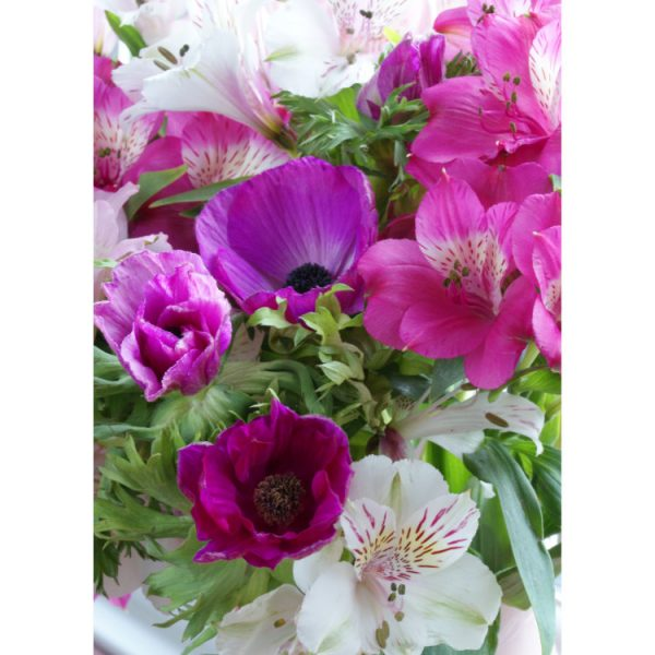 Front of double view greeting card with pink and white alstromeria and purple anemones