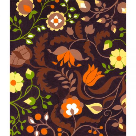 1970s Textile design with orange and yellow flowers against a brown background