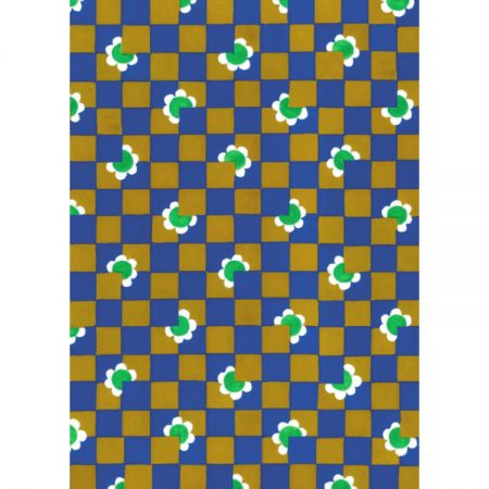 1970s Textile design of small blue and tan squares with little green and white flowers