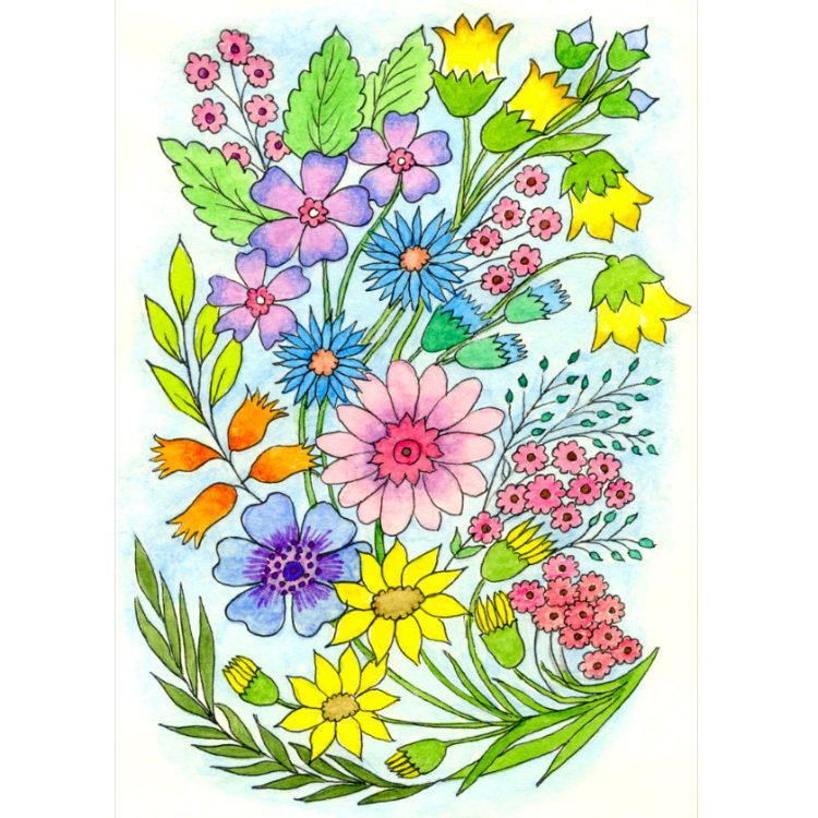 Card design with colourful painting of a flower bouquet with pink, purple, yellow and blue flowers