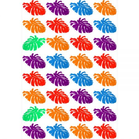 Greeting card design of cheese plant leaf silhouettes in purple, blue, orange, red and green