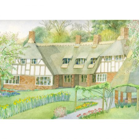 Greetings card design of watercolour painting with thatched cottages, gardens and well