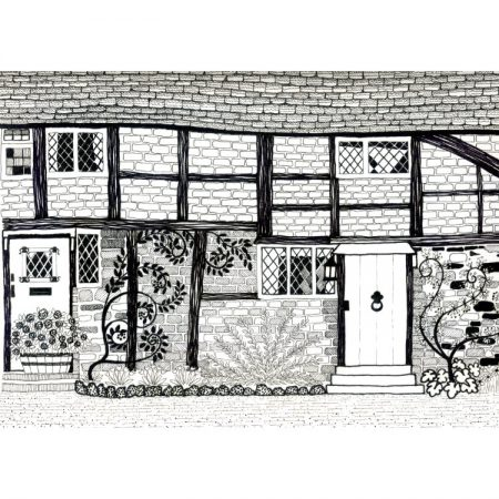 Greetings card design with black and white pen & ink drawing of terraced tudor cottages