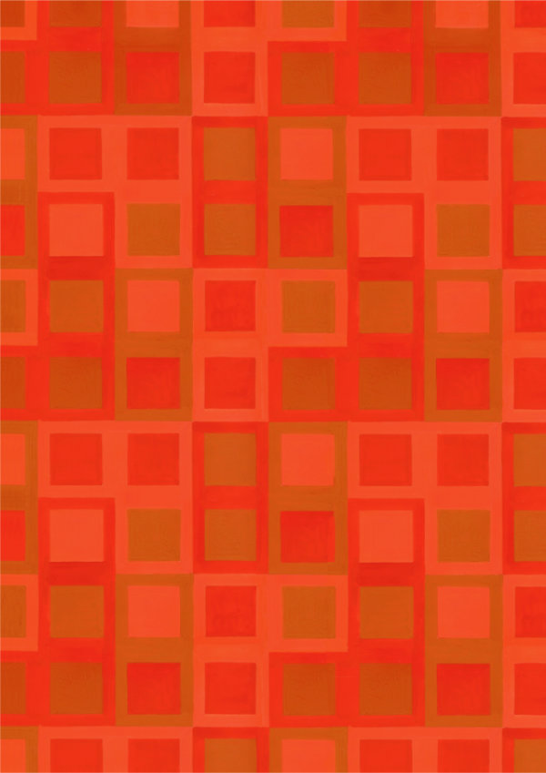 1950s wallpaper design pattern of red, orange and tan squares