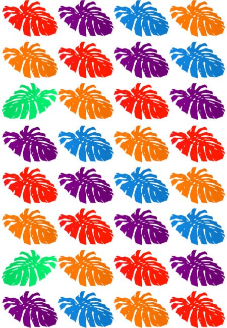 Art print design of red, purple, orange and blue cheese plant leaves in a diagonal pattern
