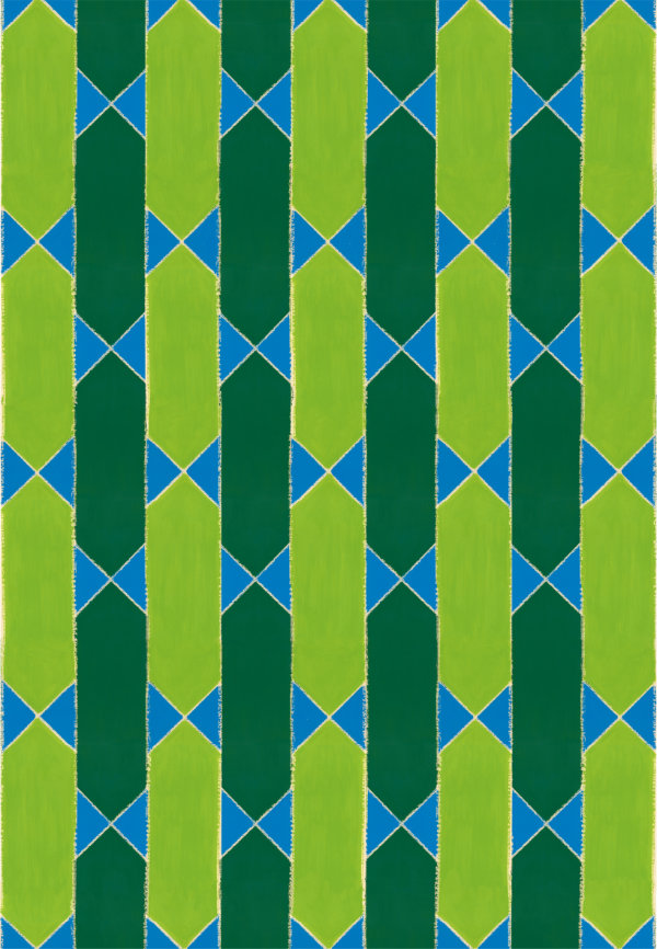 1950s wallpaper design pattern of dark and lime green stripes and blue flag shapes