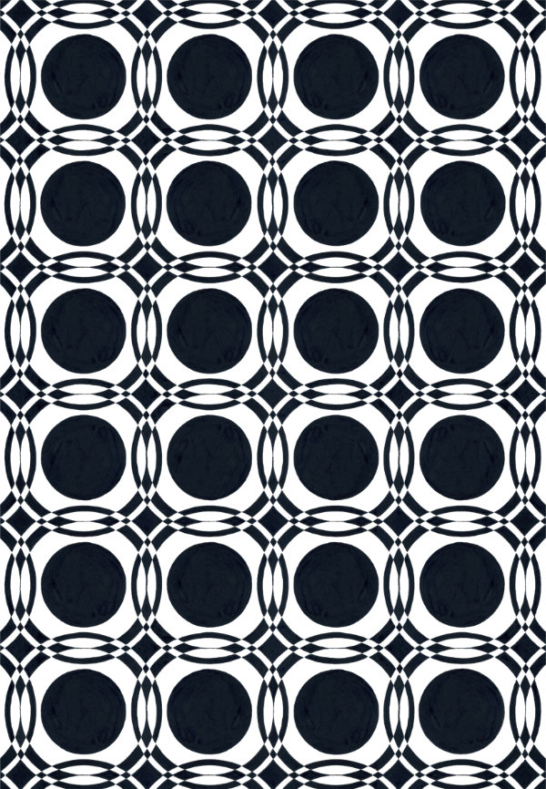 1950s wallpaper design pattern of black circles and black and white intersections