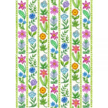 Textile design repeating pattern of coloured flowers and green leaves