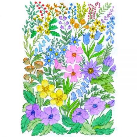 Card design of colourful painting of small wild flowers and leaves