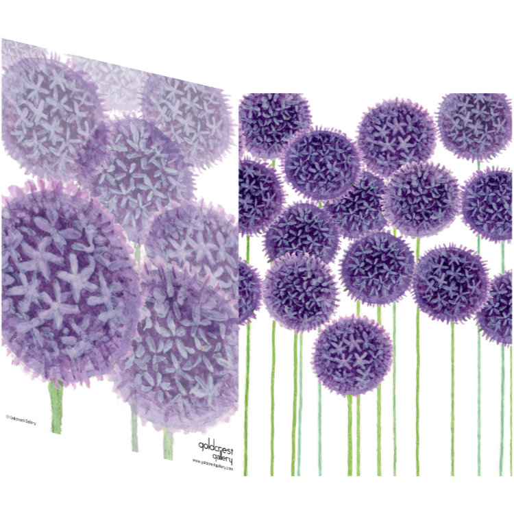 Two sides of a folded greeting card showing two views of painted purple alliums in distance and close up