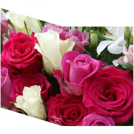 Two sides of a folded greeting card showing a single image of pink and white roses