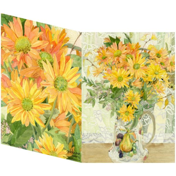 Two sides of a folded greeting card showing a painting of yellow chrysanthemums in a china jug