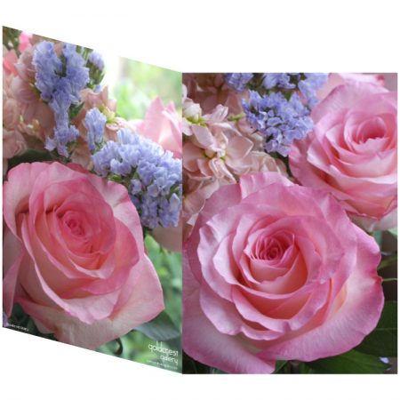 Two sides of a folded greeting card showing two views of pink roses, purple statice and peach stocks