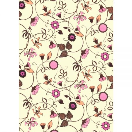 1970s Textile design of pink and orange flowers and leaves