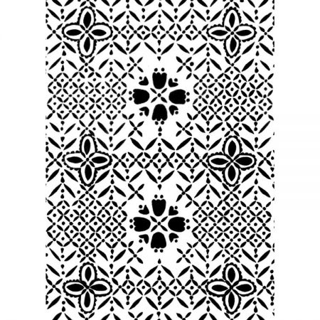 Greetings card design of 1970s textile pattern lacework in black and white