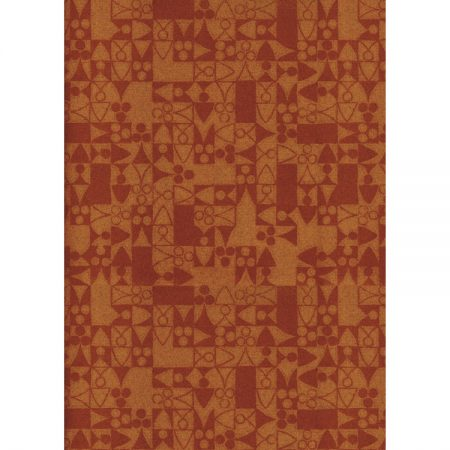 1970s Textile design medieval-style motifs in muted reds and browns