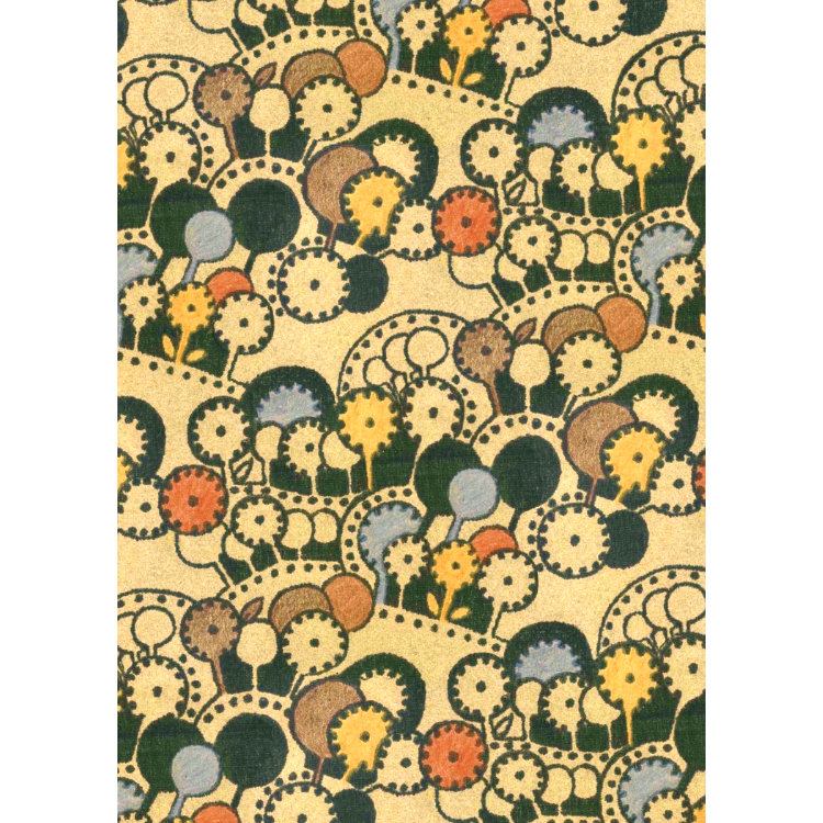 1970s Textile design yellow red blue and black cog circles
