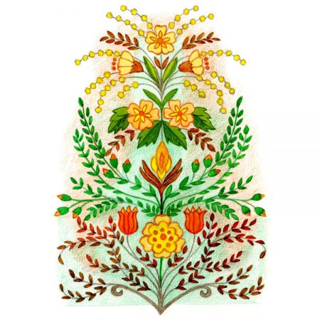 Yellow and orange flowers with green leaves card design