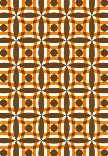 1950s wallpaper design of brown circles and orange segments