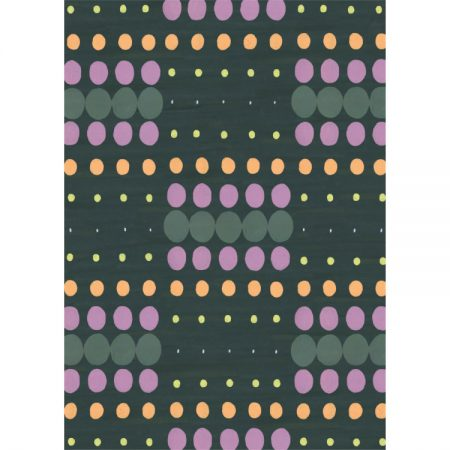 Wallpaper design of pink, yellow, orange and green pinpoints on dark green background