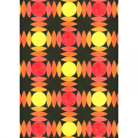 Wallpaper design greetings card with circles and segments in red, orange and yellow on a black background