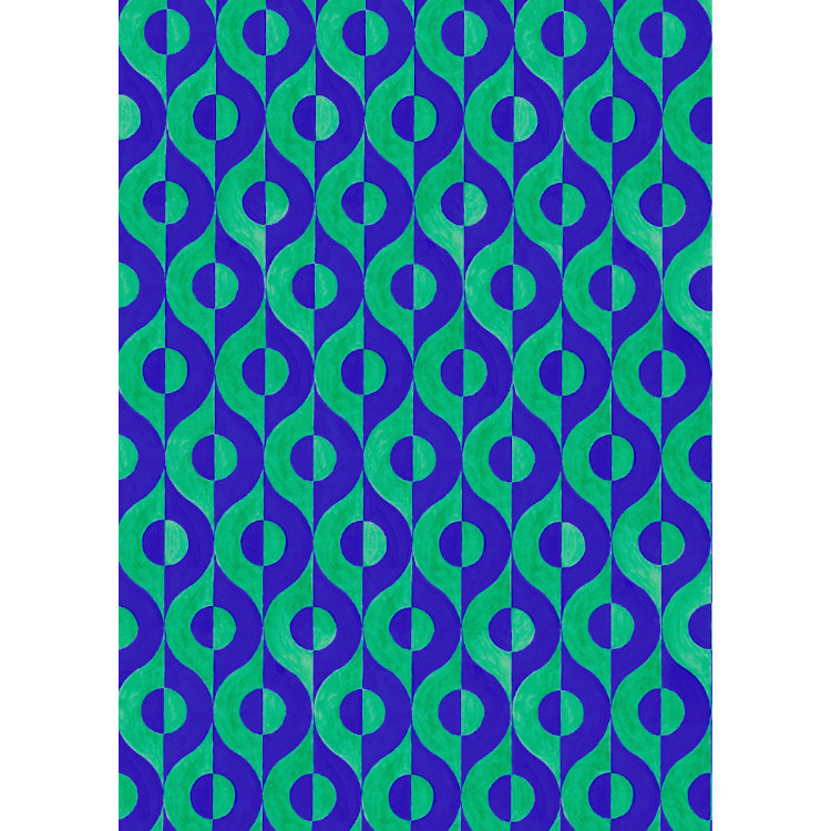 Wallpaper design with blue and green semicircles in swirling lines