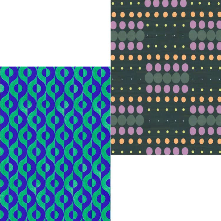 Two card designs of retro wallpapers, one blue and green semicircles, one pastel pinpoints on dark green background