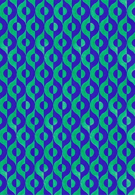 Wallpaper design with swirling blue and green semicircles