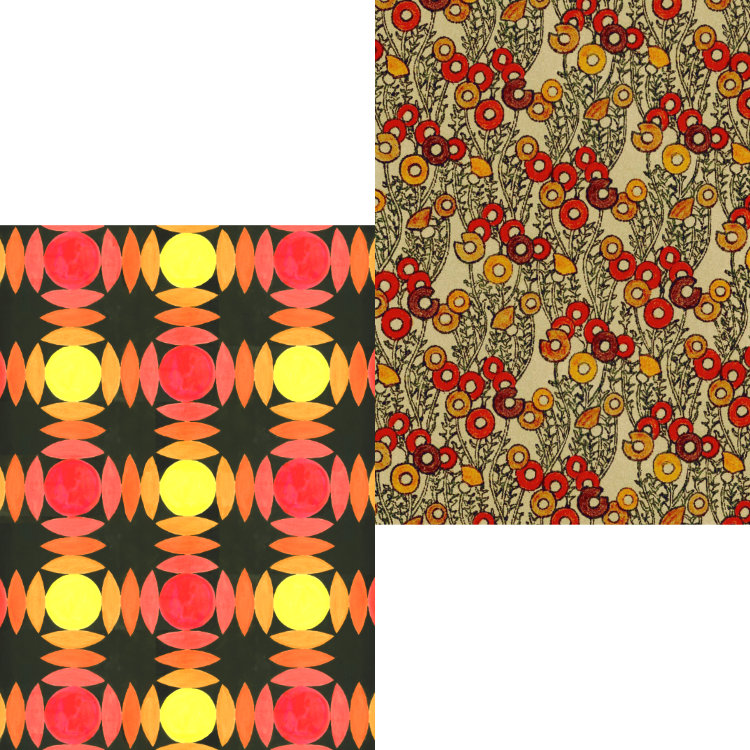 Wallpaper design in reds, oranges and yellows with textile design of circles in russet colours - greetings cards
