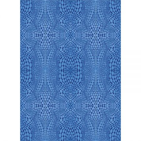 Greeting card with textile design of symmetrical blue pattern
